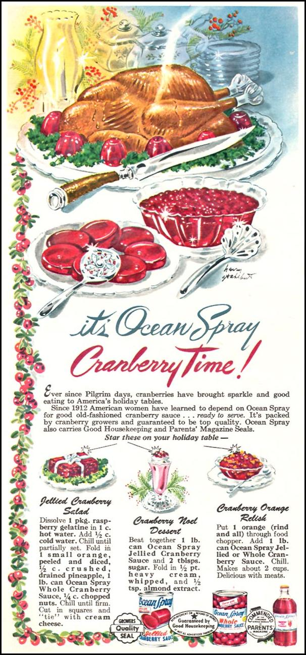 OCEAN SPRAY CRANBERRIES WOMAN'S DAY 12/01/1954 p. 54