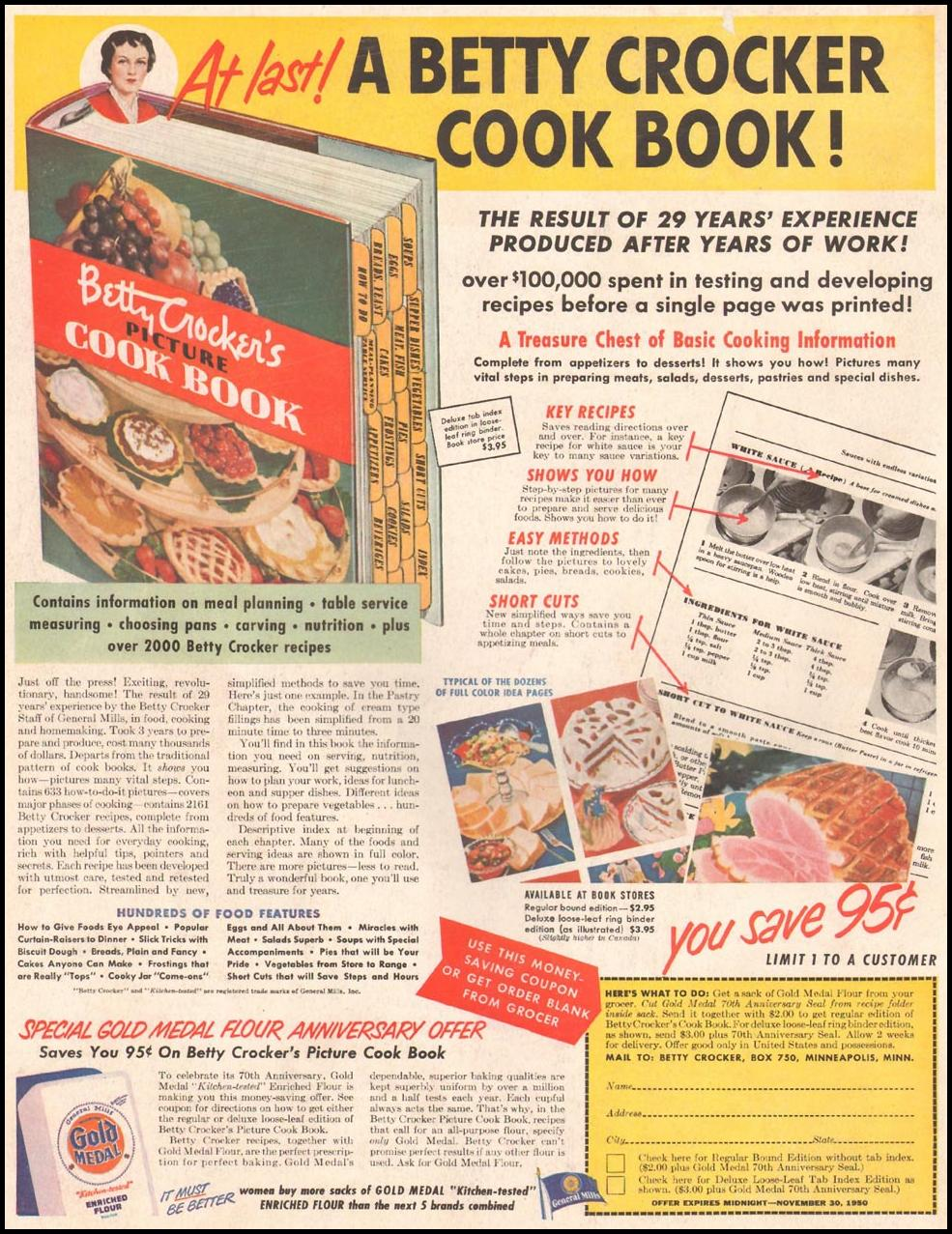 BETTY CROCKER PICTURE COOK BOOK LADIES' HOME JOURNAL 11/01/1950 BACK COVER