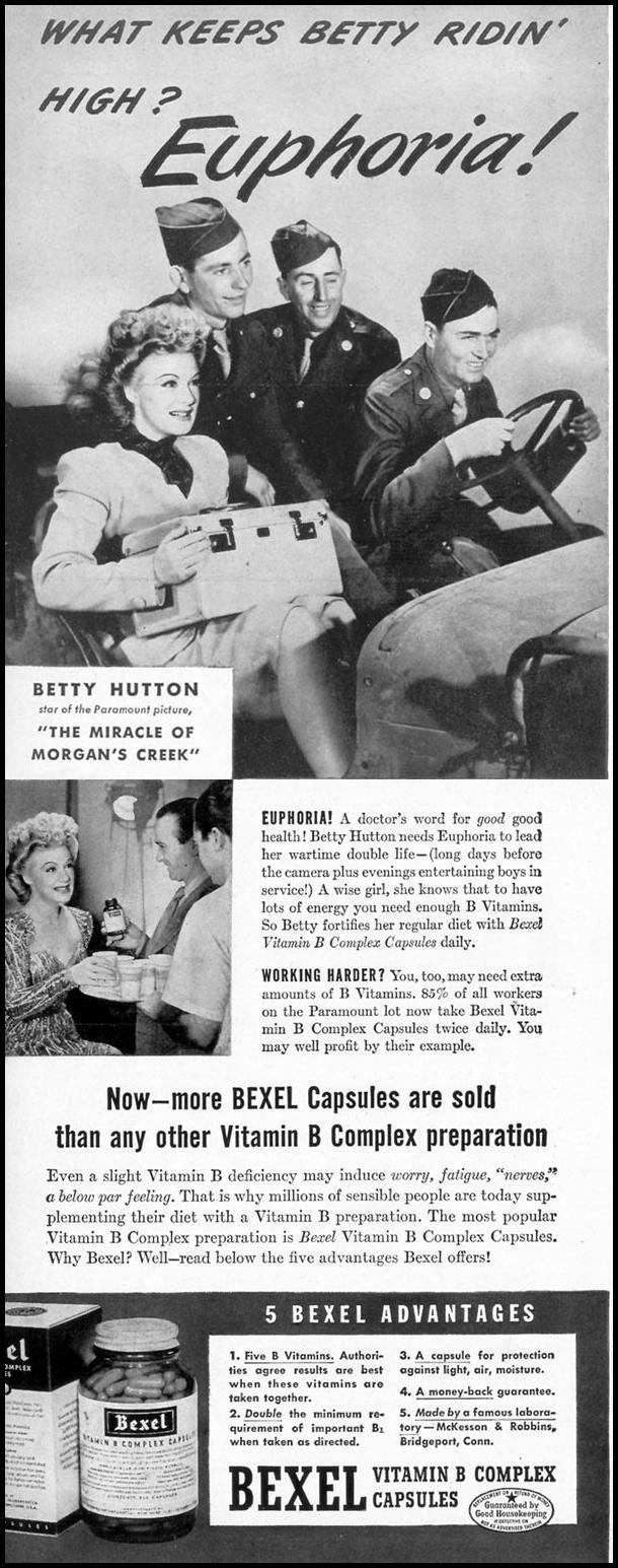 BEXEL VITAMIN B COMPLEX VITAMINS LIFE 02/28/1944 p. 16