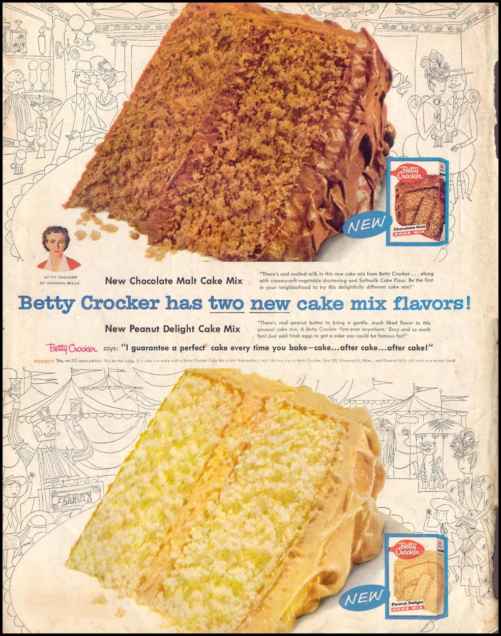 BETTY CROCKER CAKE MIXES SATURDAY EVENING POST 09/10/1955 BACK COVER