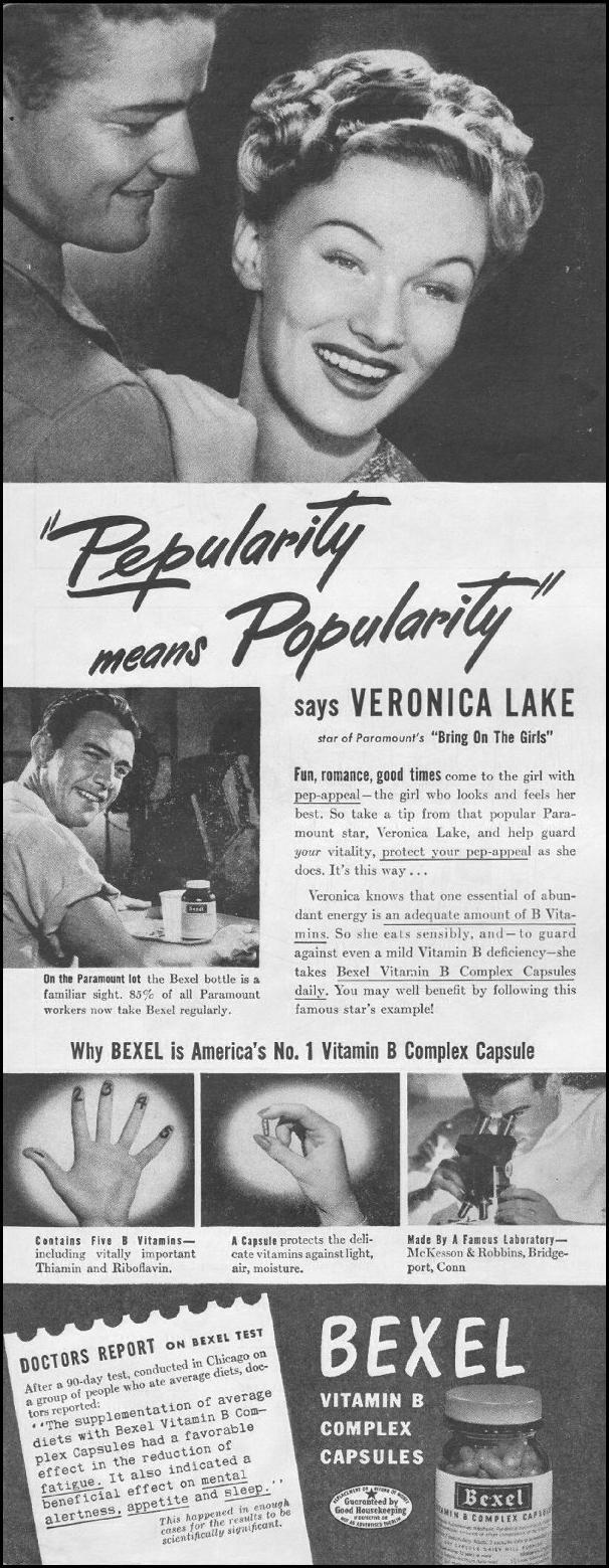 BEXEL VITAMIN B COMPLEX VITAMINS LIFE 03/12/1945 p. 44