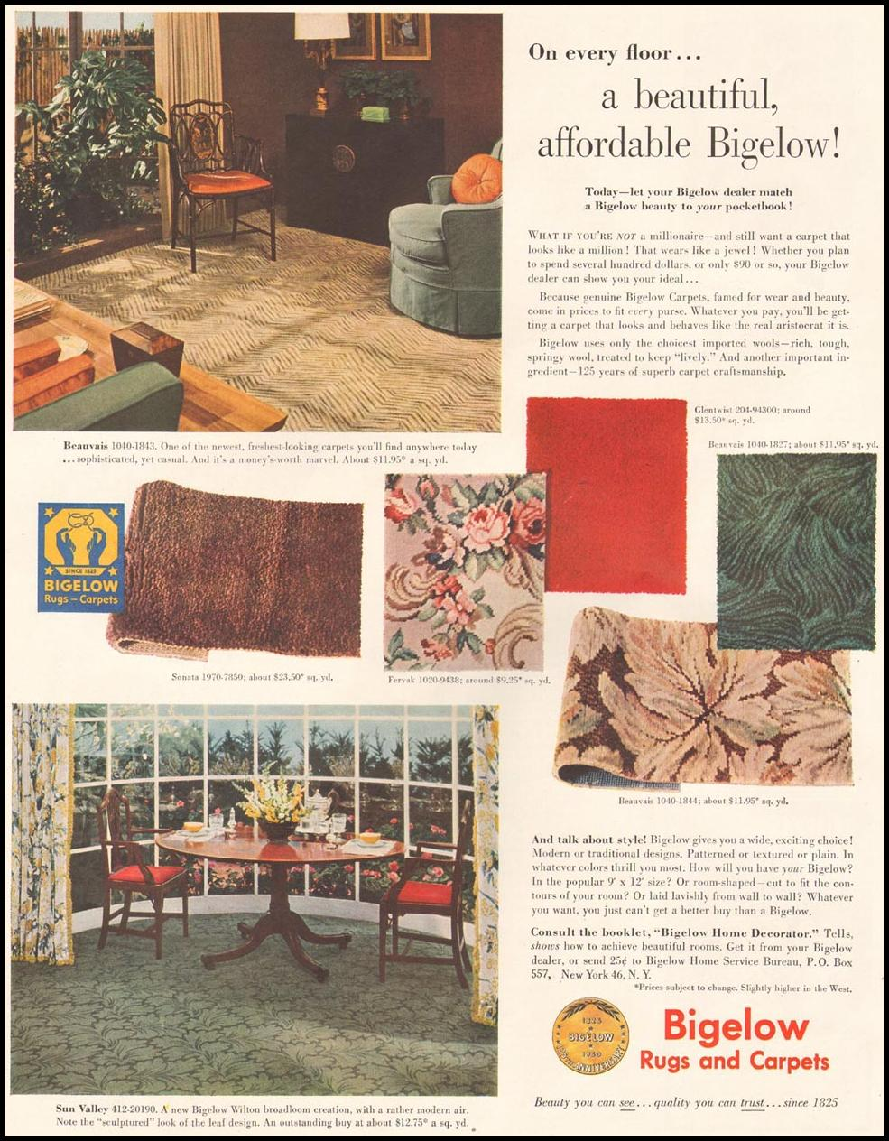 BIGELOW RUGS AND CARPETS LADIES' HOME JOURNAL 11/01/1950 p. 98