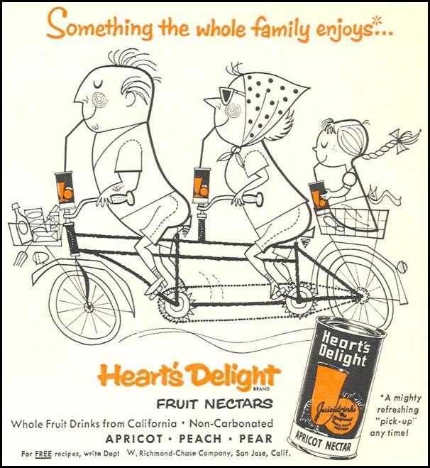 HEART'S DELIGHT FRUIT NECTARS WOMAN'S DAY 09/01/1955 p. 123