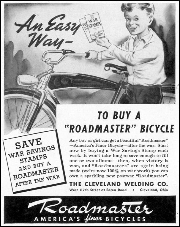 ROADMASTER BICYCLES LIFE 11/08/1943 p. 128