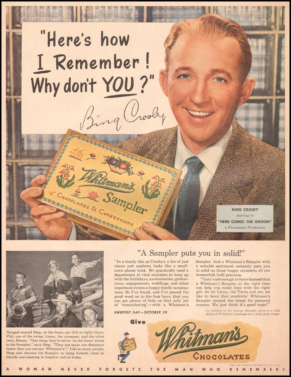 WHITMAN'S CHOCOLATES LIFE 10/01/1951