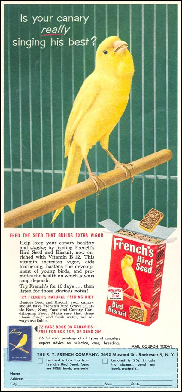FRENCH'S BIRD SEED WOMAN'S DAY 09/01/1955 p. 84