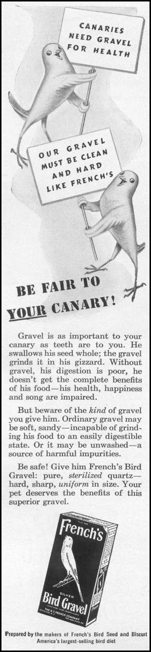 FRENCH'S BIRD GRAVEL WOMAN'S DAY 12/01/1948 p. 90