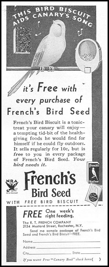 FRENCH'S BIRD SEED GOOD HOUSEKEEPING 12/01/1933 p. 172