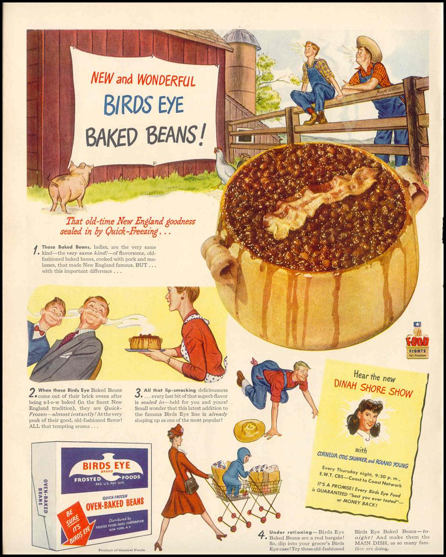 BIDS EYE FROZEN BAKED BEANS LIFE 02/14/1944 p. 36
