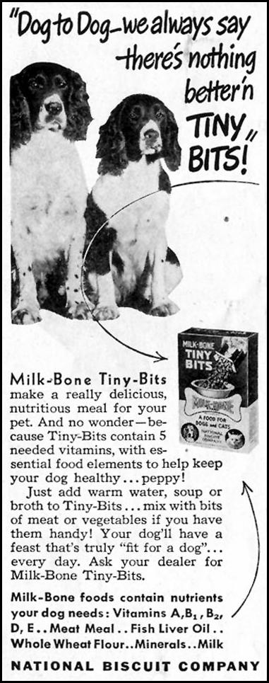 MILK-BONE TINY-BITS DOG FOOD SATURDAY EVENING POST 10/06/1945 p. 108