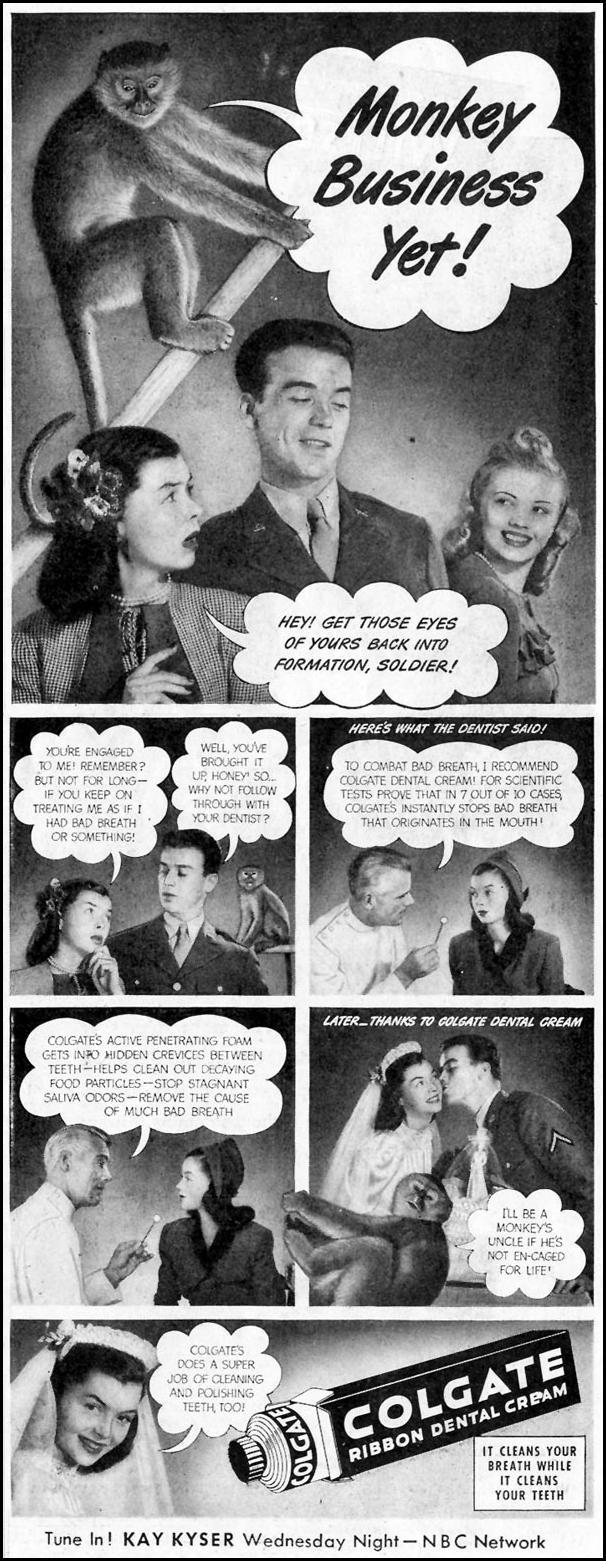 COLGATE DENTAL CREAM SATURDAY EVENING POST 10/06/1945 p. 47