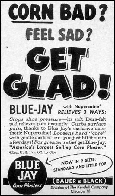 BLUE JAY CORN PLASTERS WOMAN'S DAY 03/01/1948 p. 80