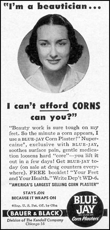 BLUE JAY CORN PLASTERS WOMAN'S DAY 06/01/1949 p. 113