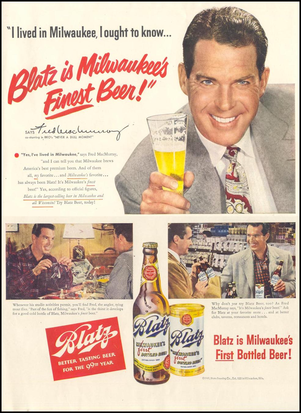 BLATZ BEER LIFE 12/25/1950 INSIDE BACK