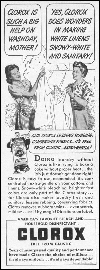 CLOROX BLEACH WOMAN'S DAY 06/01/1946 p. 80