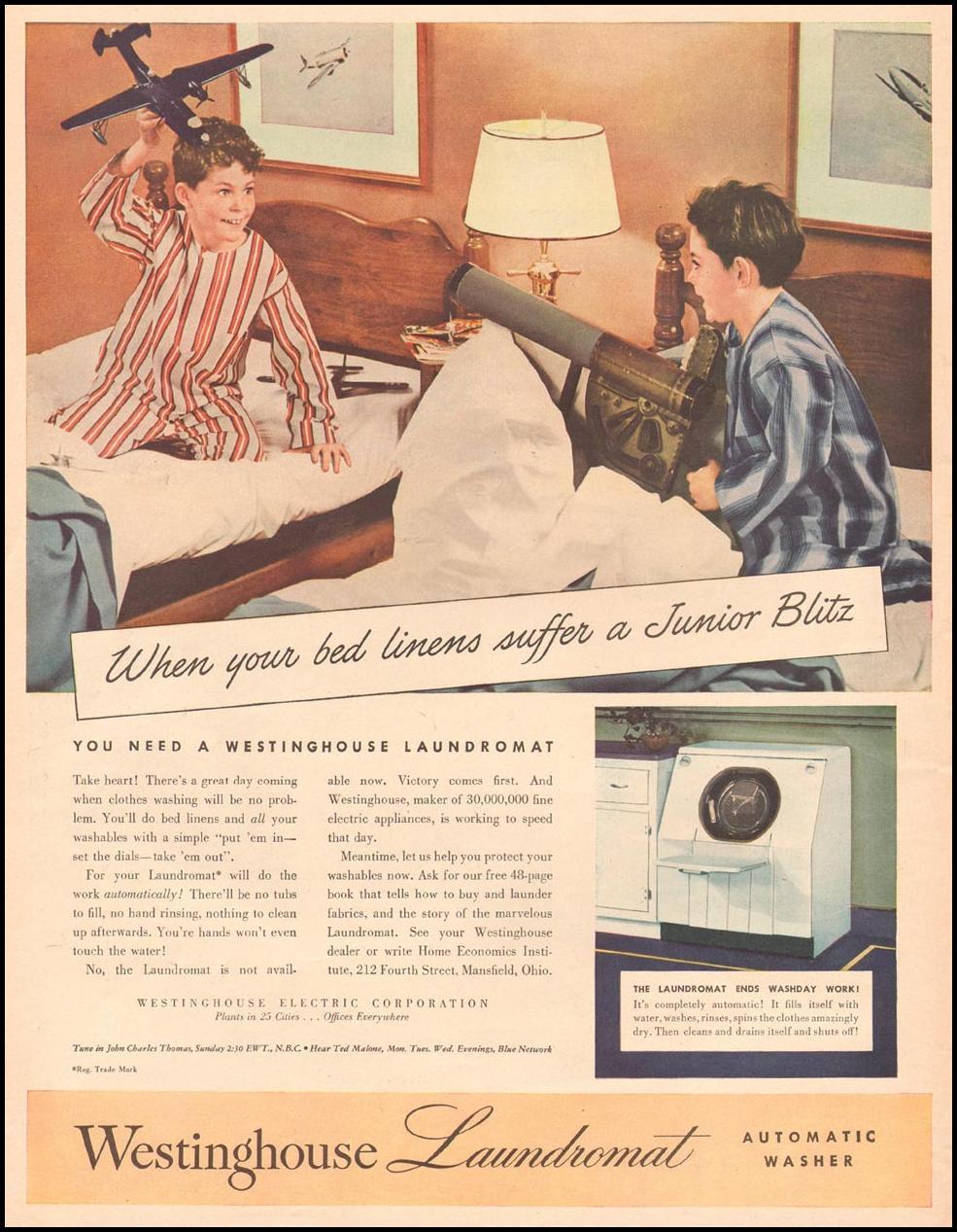 WESTINGHOUSE LAUNDROMAT AUTOMATIC WASHERS LIFE 06/04/1945 p. 11