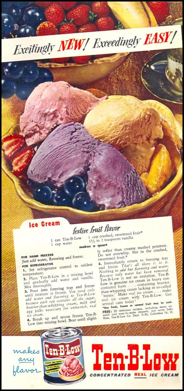 TEN-B-LOW ICE CREAM CONCENTRATE WOMAN'S DAY 06/01/1950 p. 73
