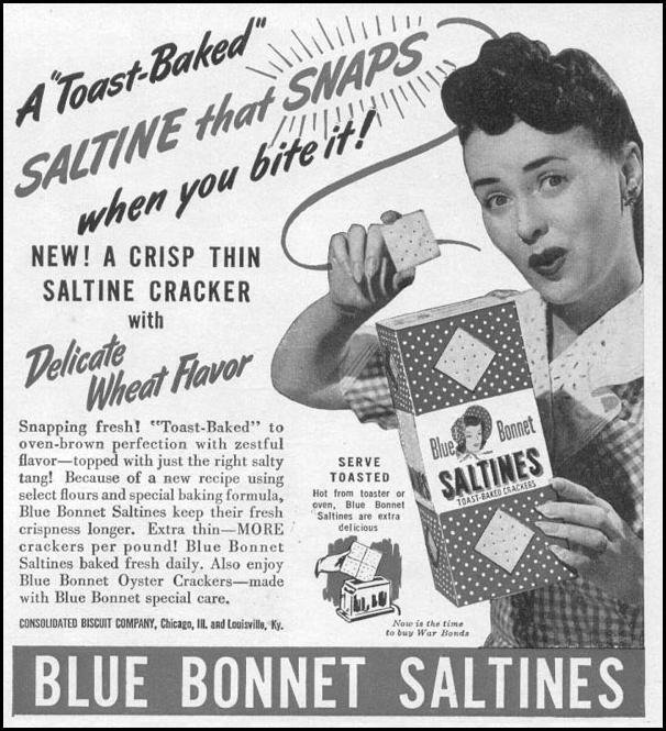 BLUE BONNET SALTINES WOMAN'S DAY 05/01/1943 p. 83