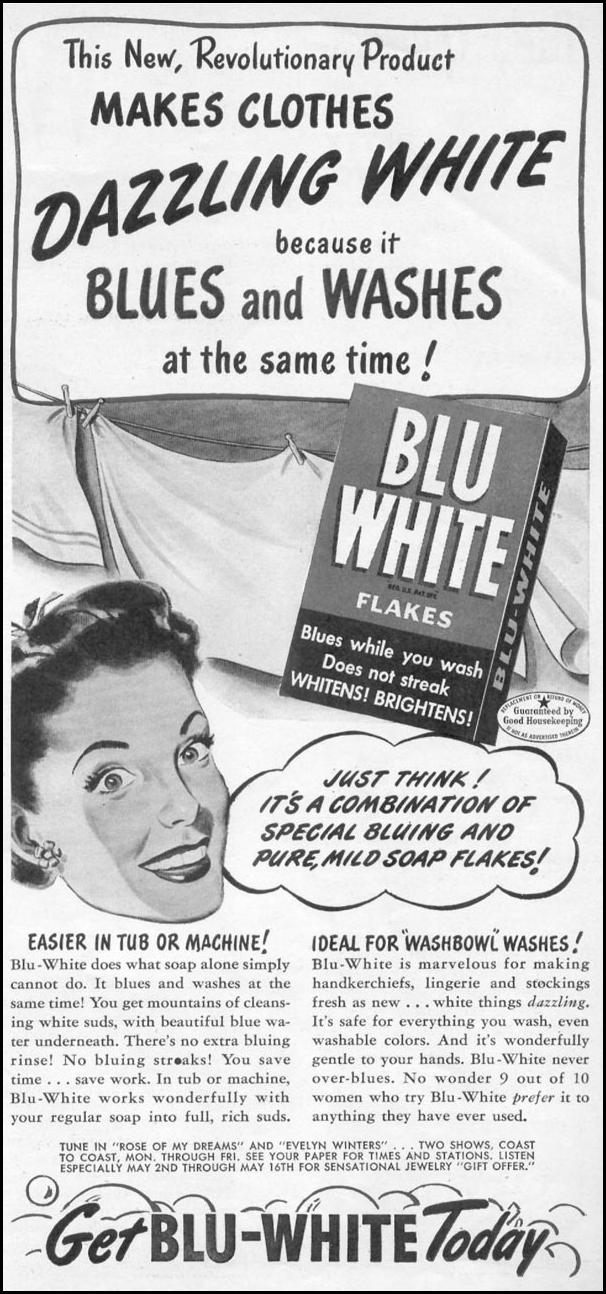 BLU-WHITE FLAKES WOMAN'S DAY 05/01/1947 p. 9