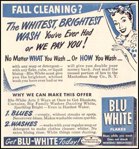 BLU WHITE DETERGENT FLAKES WOMAN'S DAY 10/01/1949 p. 92