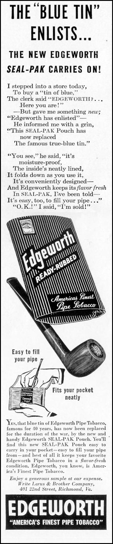EDGEWORTH READY-RUBBED PIPE TOBACCO LIFE 01/18/1943 p. 88
