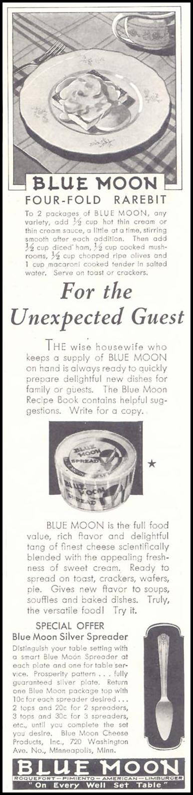 BLUE MOON CHEESE GOOD HOUSEKEEPING 11/01/1933 p. 149