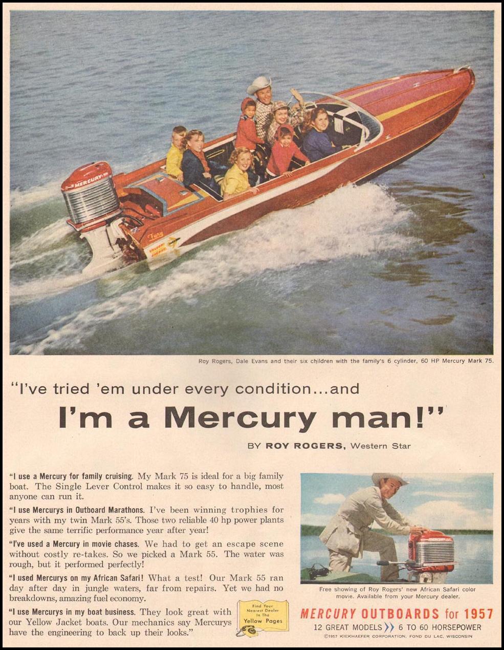 MERCURY OUTBOARD BOAT MOTORS LIFE 06/24/1957 p. 56