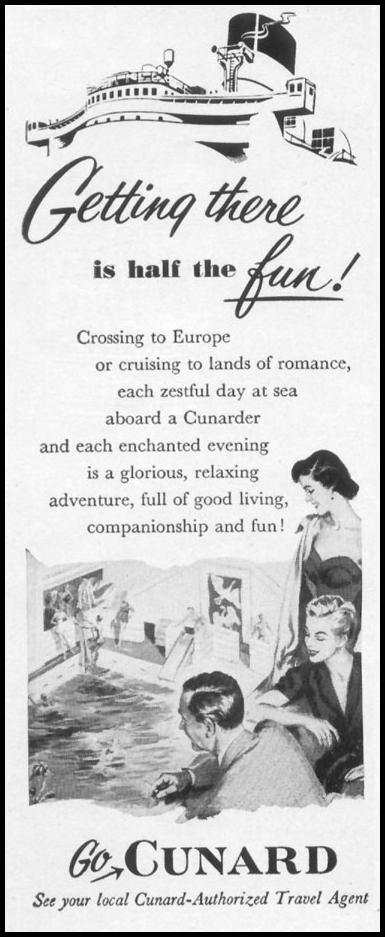 OCEAN LINER TRAVEL TO EUROPE LIFE 10/13/1952 p. 166