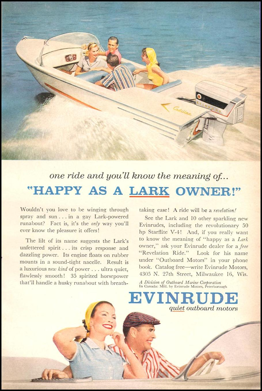 EVINRUDE LARK OUTBOARD MOTORS POPULAR SCIENCE 06/01/1958