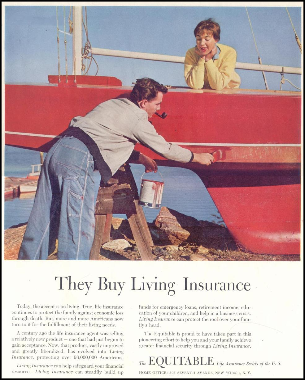 LIFE INSURANCE SATURDAY EVENING POST 03/26/1955 p. 53