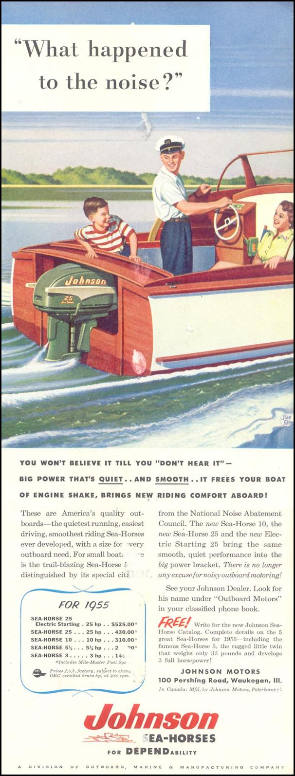 JOHNSON SEA-HORSE OUTBOARD MOTORS SATURDAY EVENING POST 04/09/1955 p. 65