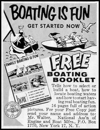 FREE BOATING BOOKLET SATURDAY EVENING POST 07/23/1955 p. 75