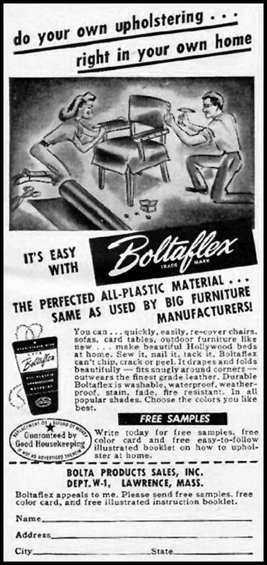 BOLTAFLEX UPHOLSTERY WOMAN'S DAY 01/01/1949 p. 104