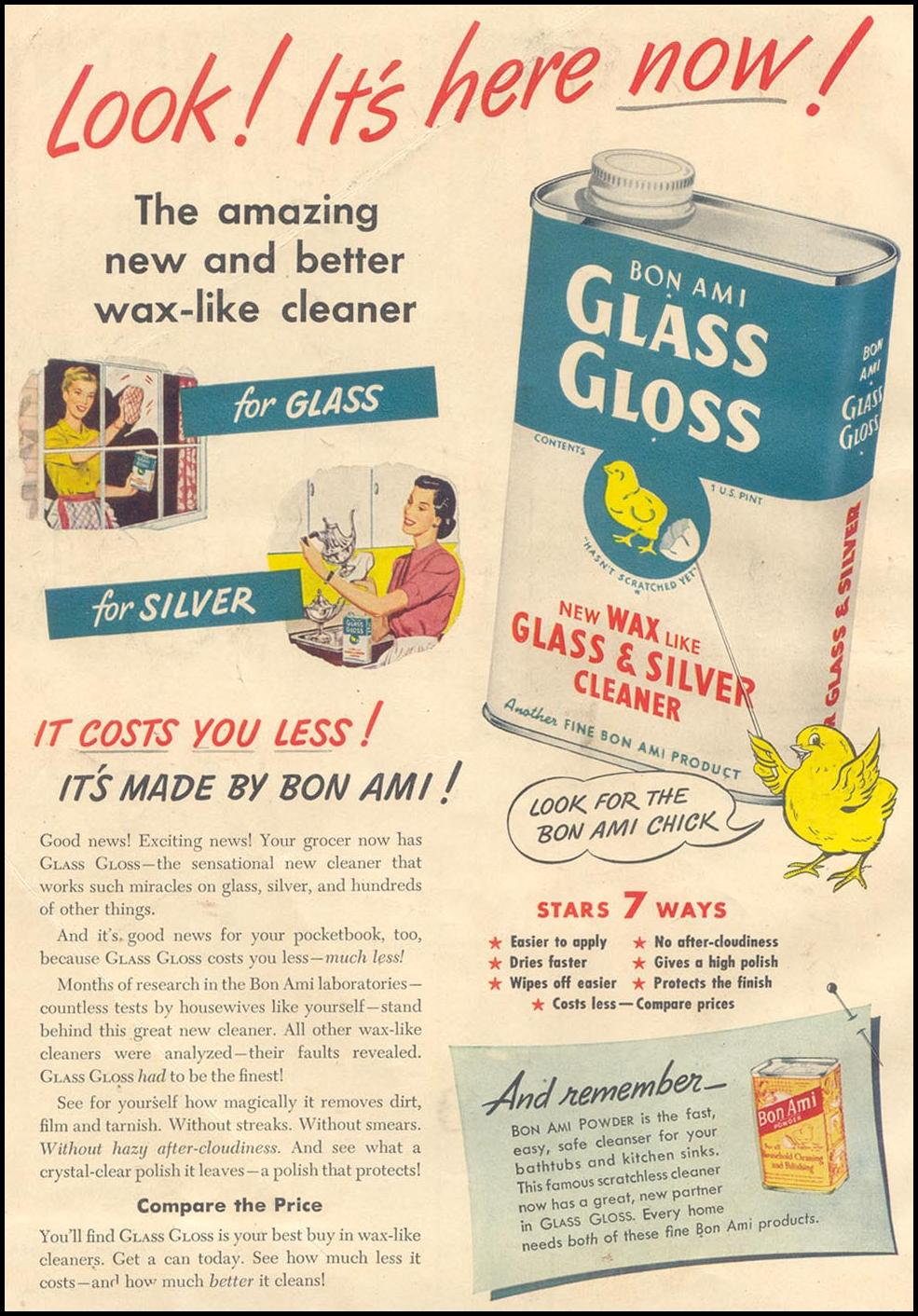 BON AMI GLASS GLOSS GOOD HOUSEKEEPING 07/01/1949 INSIDE FRONT