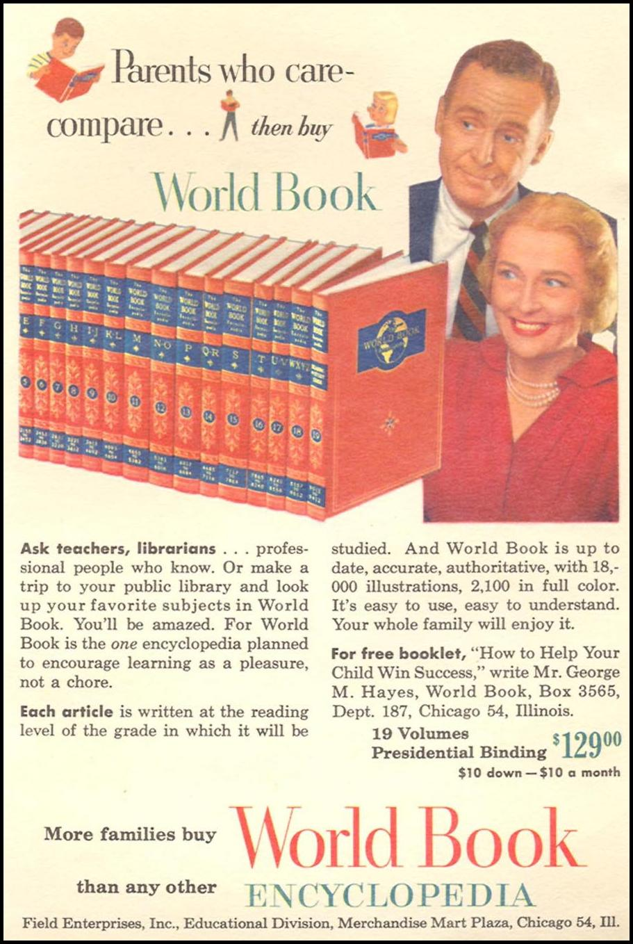 WORLD BOOK ENCYCLOPEDIA CORONET 07/01/1954 INSIDE BACK