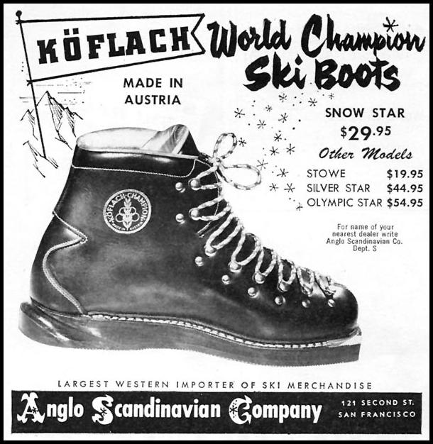KOFLACH WORLD CHAMPION SKI BOOTS SPORTS ILLUSTRATED 01/12/1959