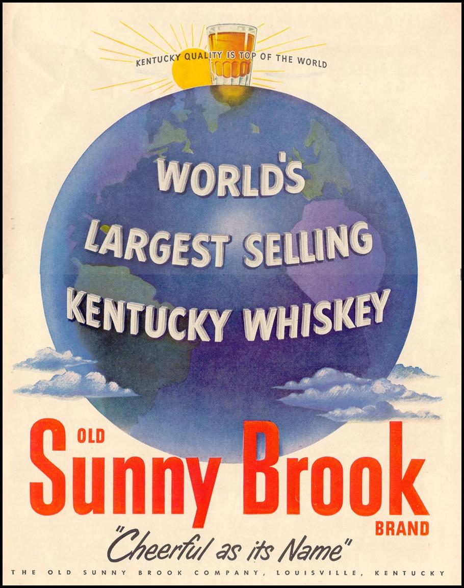 OLD SUNNY BROOK KENTUCKY WHISKEY LIFE 01/21/1952 p. 93