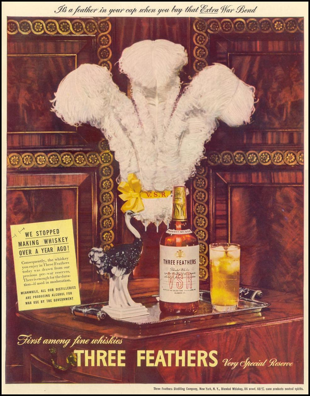 THREE FEATHERS WHISKEY LIFE 02/21/1944 INSIDE BACK