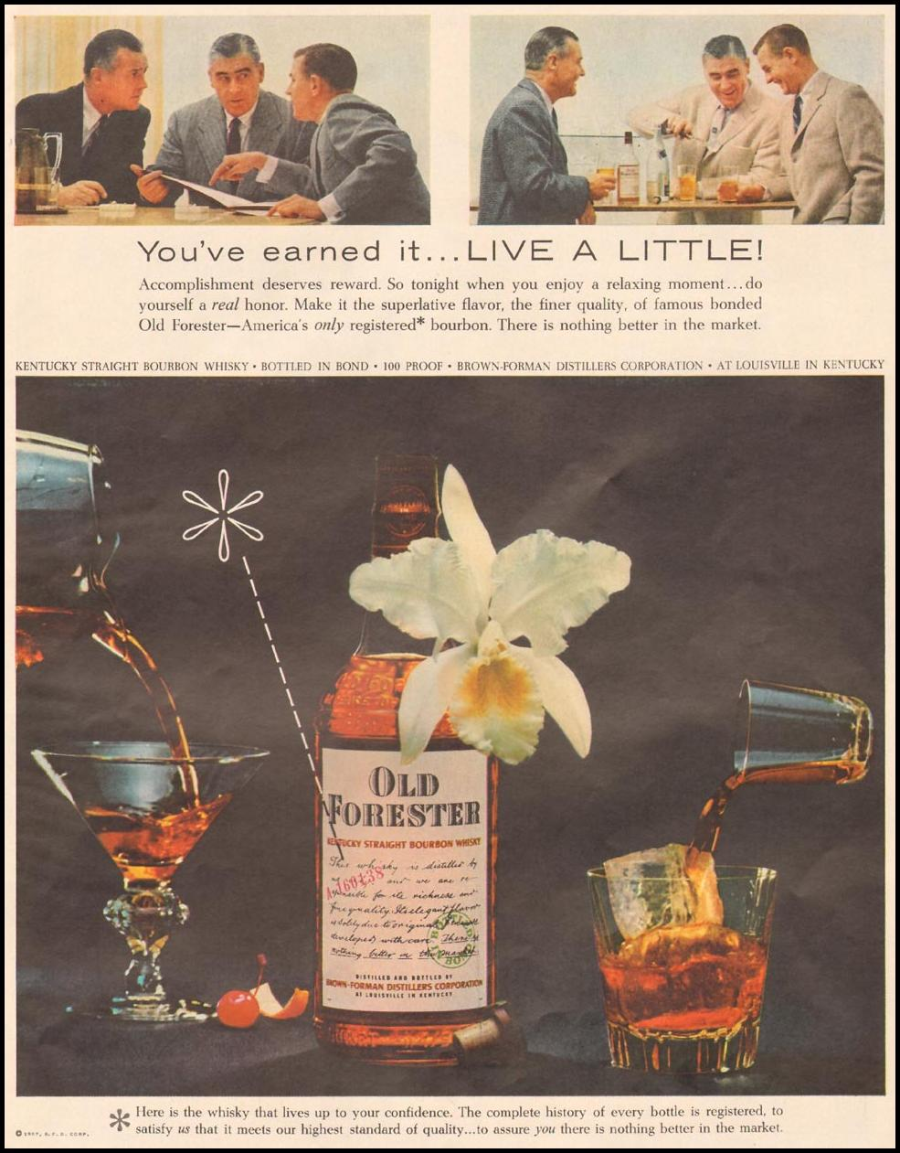 OLD FORESTER WHISKEY LIFE 04/01/1957 p. 61
