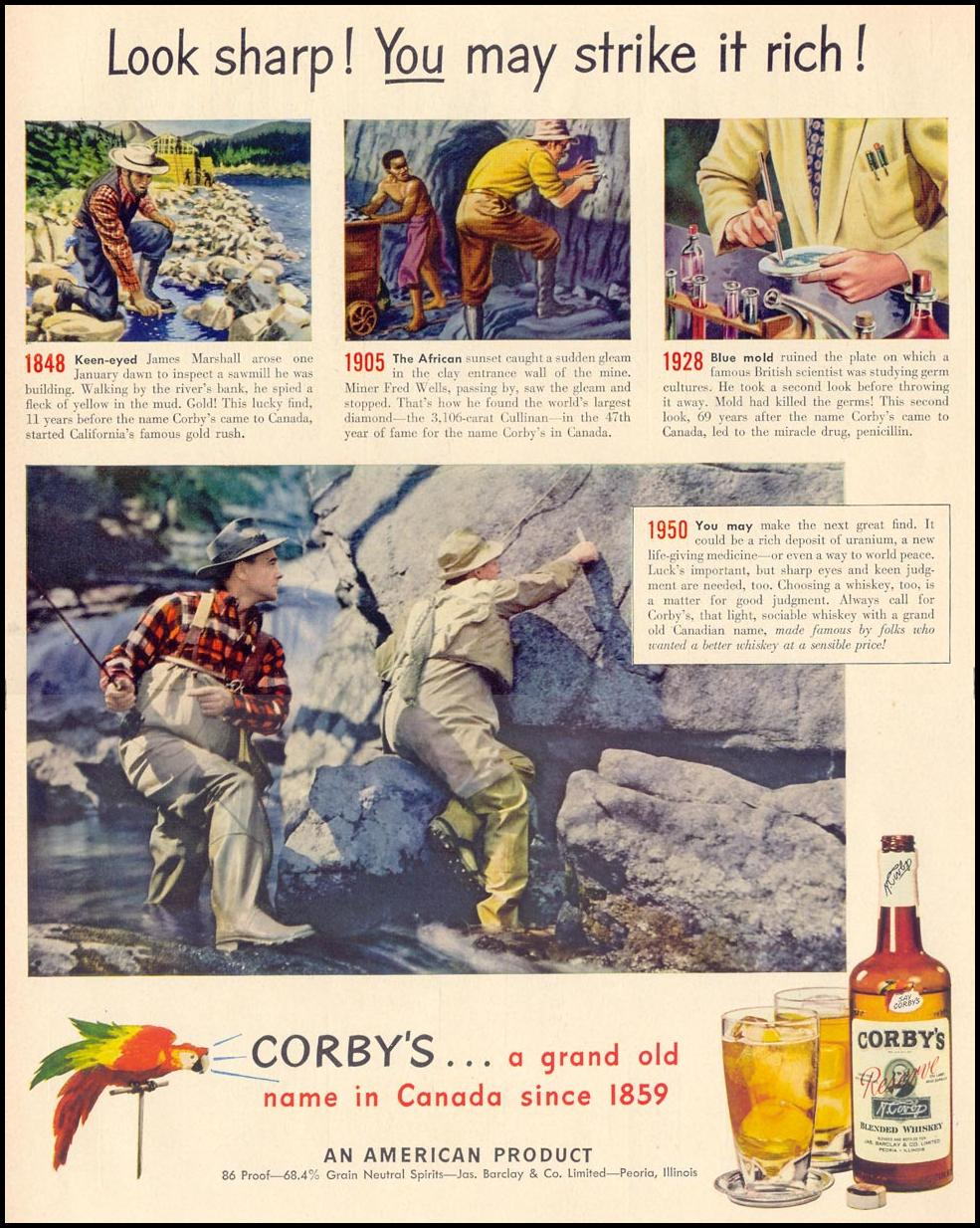 CORBY'S RESERVE BLENDED WHISKEY LIFE 04/17/1950 p. 122