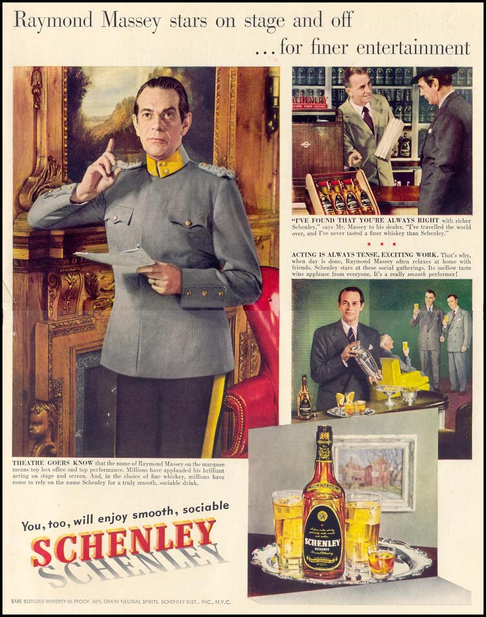 SCHENLEY RESERVE WHISKEY LIFE 04/17/1950 INSIDE BACK