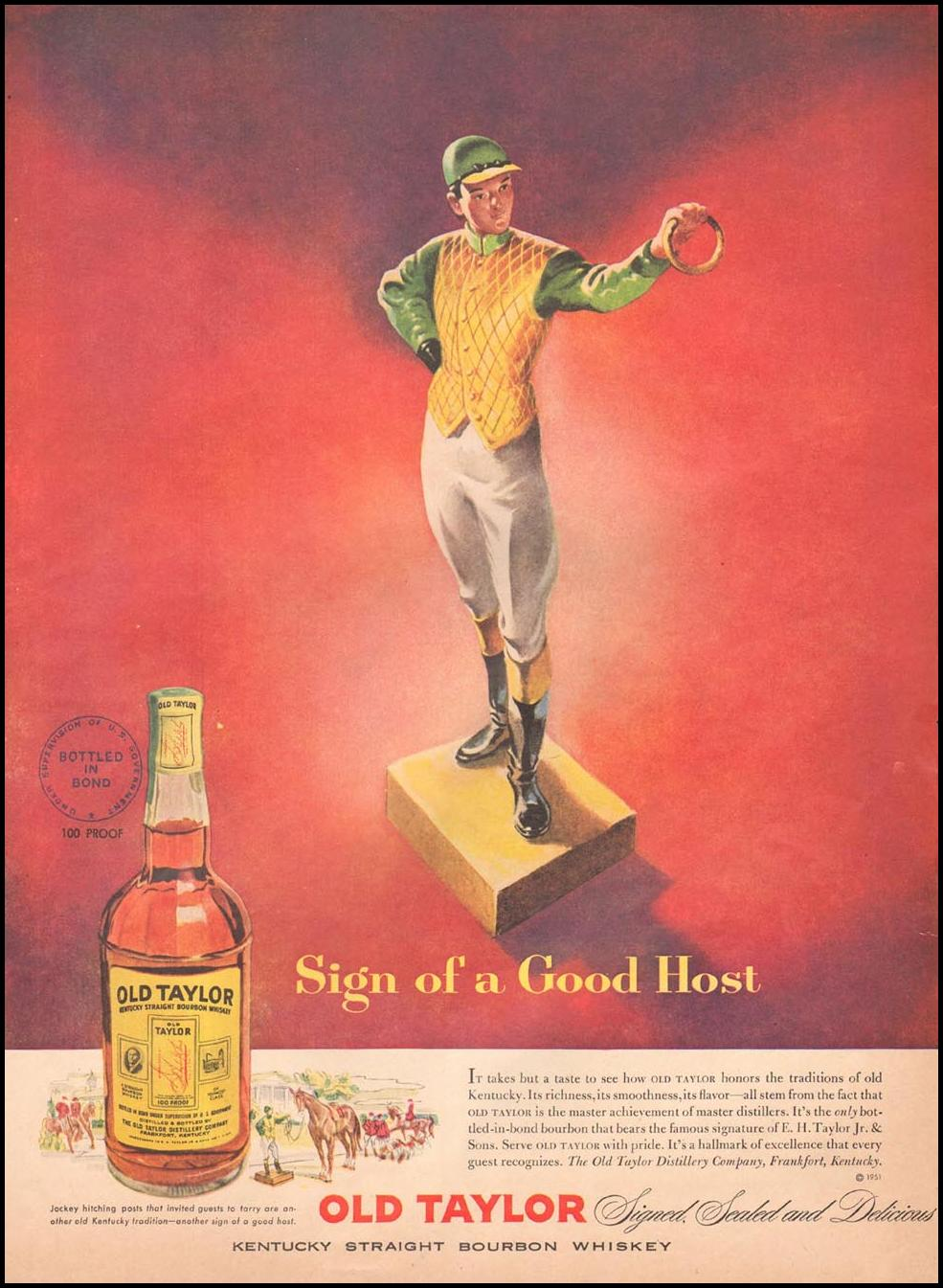 OLD TAYLOR KENTUCKY STRAIGHT BOURBON WHISKEY LIFE 04/30/1951 p. 67
