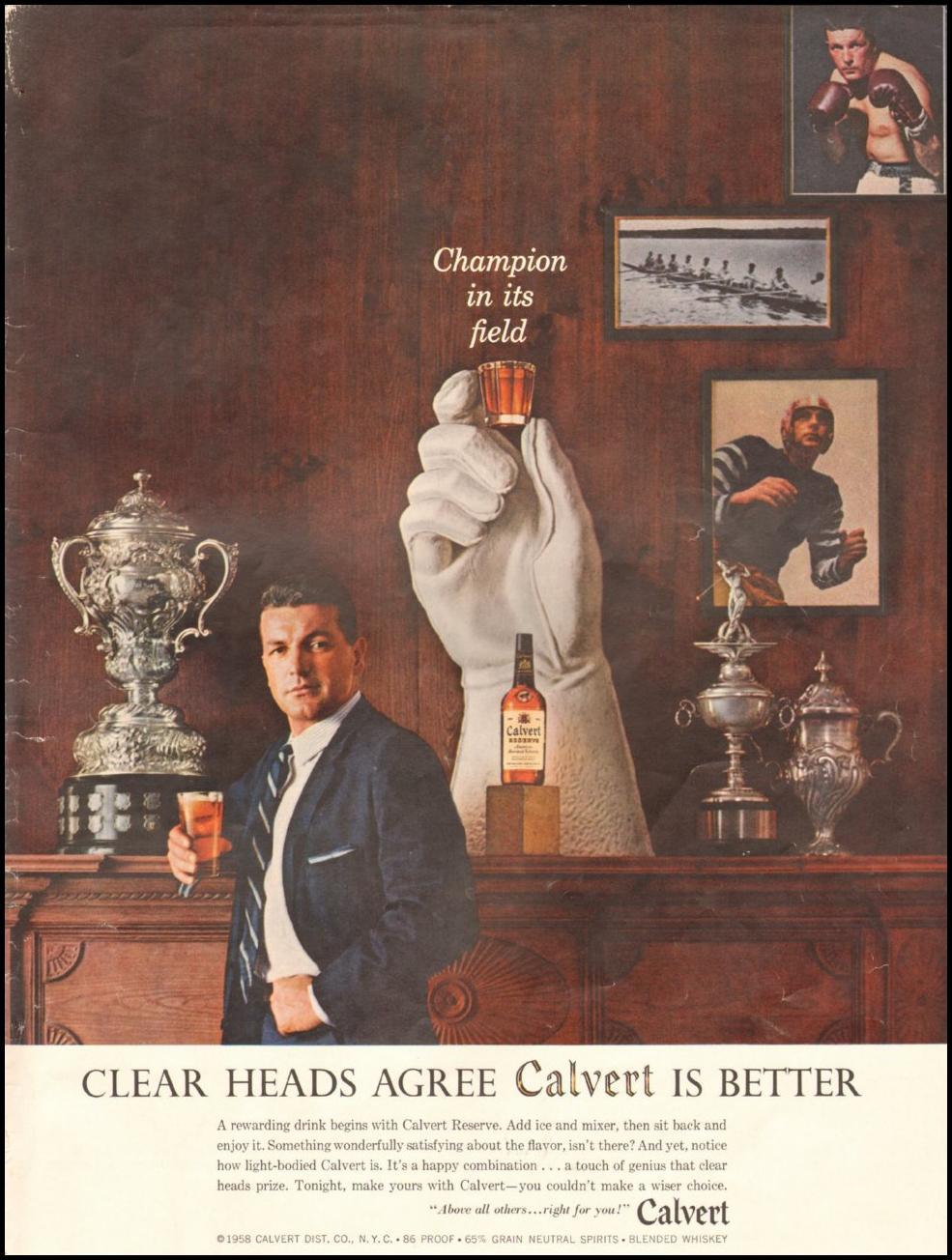 CALVERT RESERVE WHISKEY LIFE 05/19/1958 INSIDE BACK
