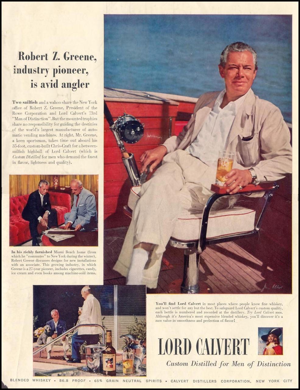 LORD CALVERT WHISKEY LIFE 07/12/1954 INSIDE BACK