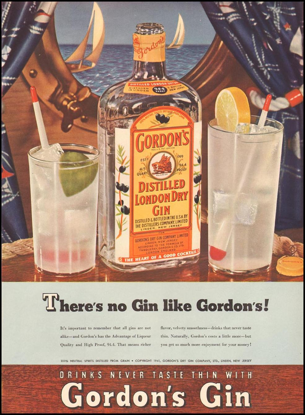 GORDON'S DISTILLED LONDON DRY GIN LIFE 08/04/1941 p. 43