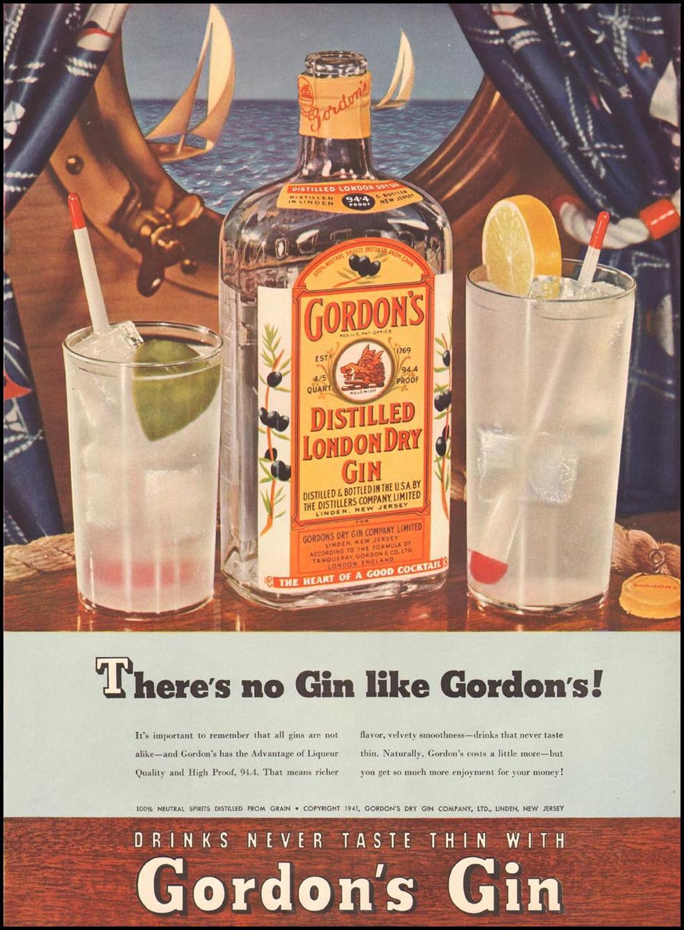 GORDON'S DISTILLED LONDON DRY GIN LIFE 08/04/1941 p. 43