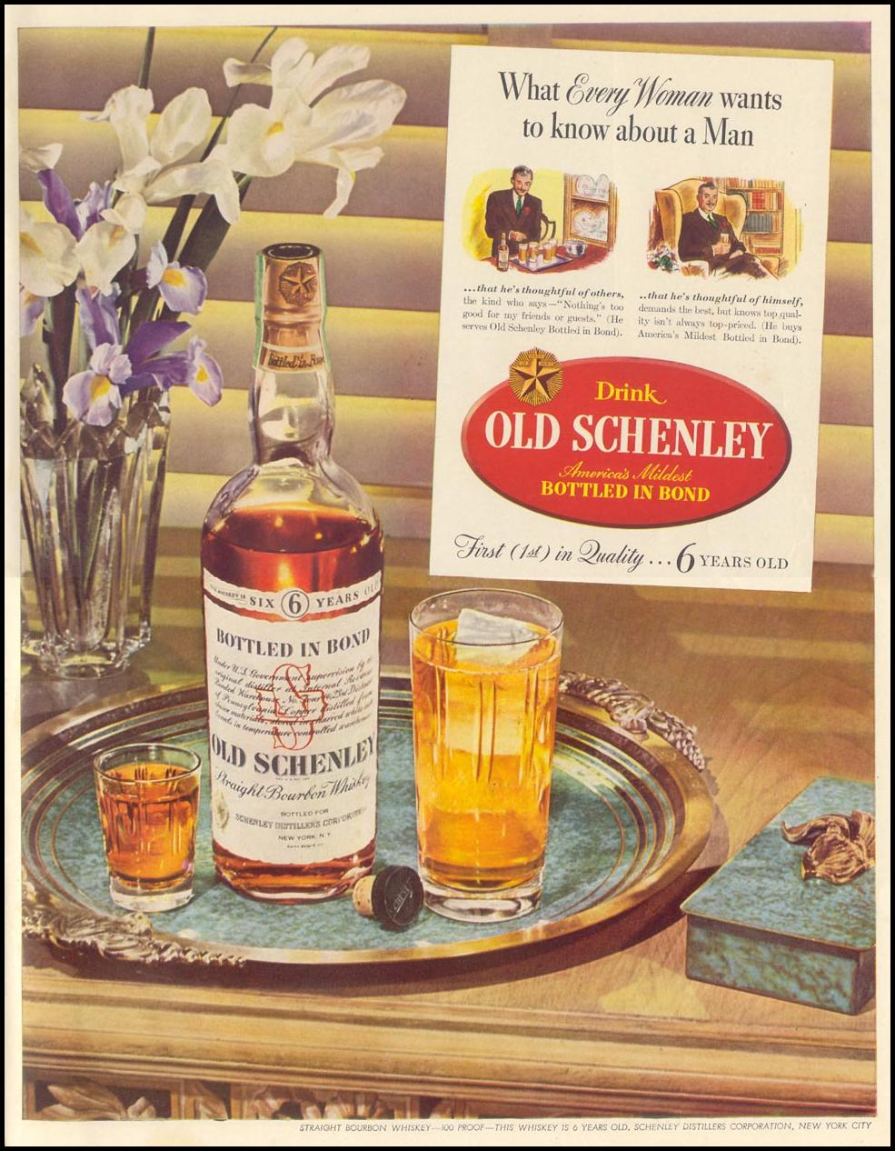 OLD SCHENLEY BOURBON LIFE 08/09/1943 INSIDE BACK