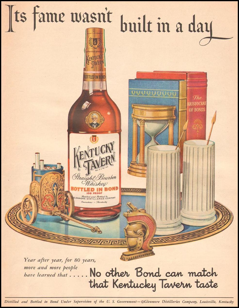 KENTUCKY TAVERN STRAIGHT BOURBON WHISKEY LIFE 09/03/1951 p. 91