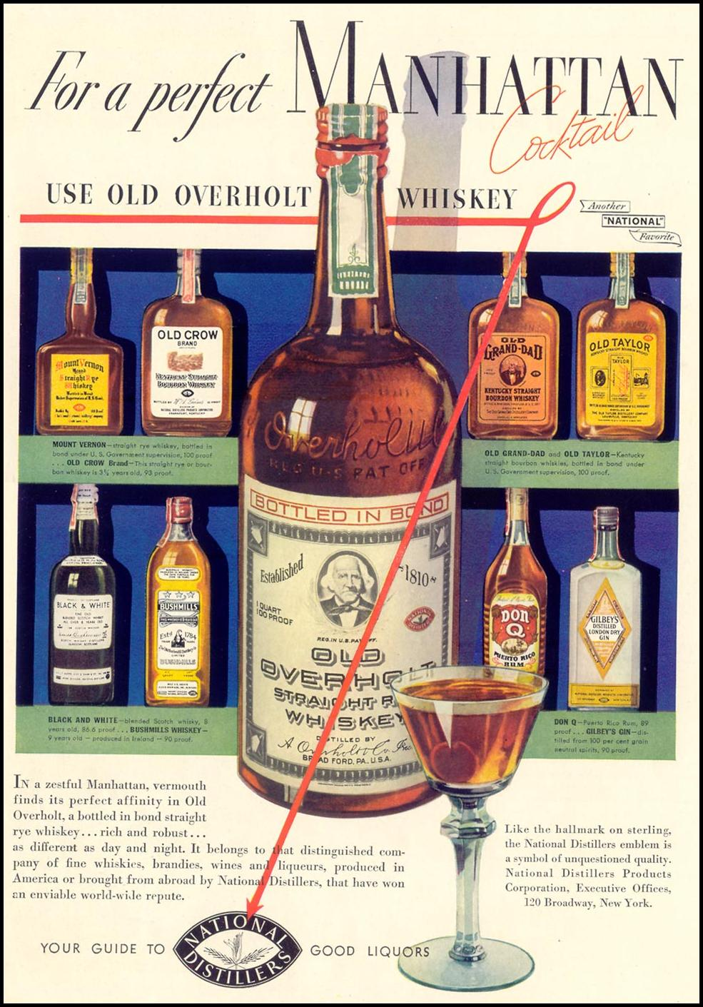 OLD OVERHOLT WHISKEY LIFE 09/13/1937 INSIDE BACK