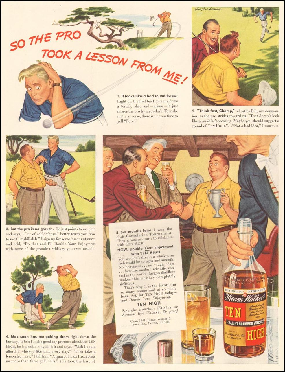 HIRAM WALKER'S TEN HIGH BOURBON WHISKEY LIFE 09/29/1941